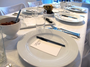 Place cards as note cards and a pen as silverware. (photo by Tim Roseborough)