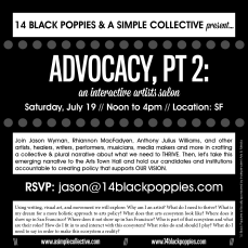 Artist Salon Advocacy Part Two black and white